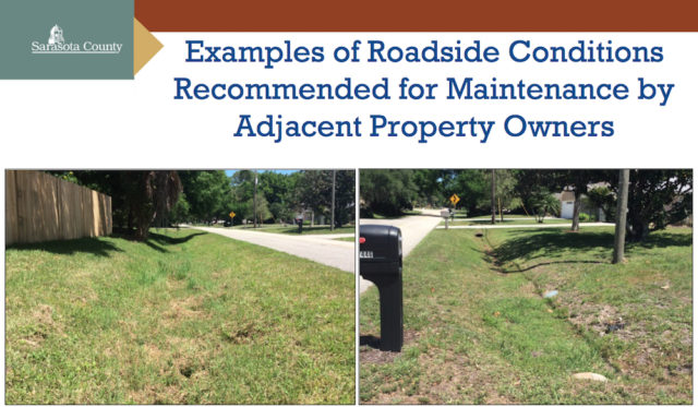 County residents would be expected to mow rights of ways such as these, staff says. Image courtesy Sarasota County