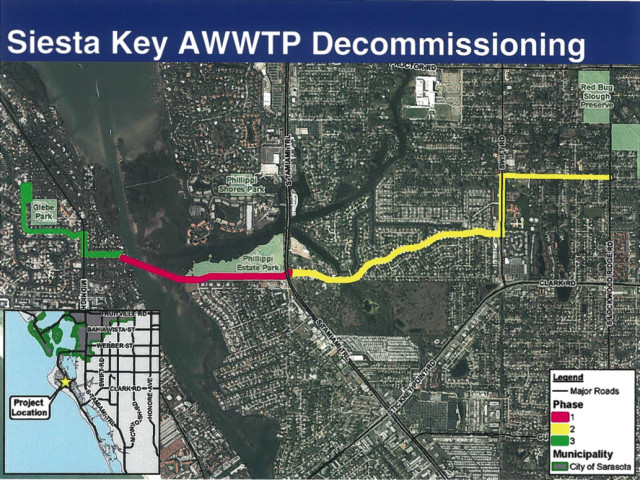 A county graphic shows the segments of the project designed to lead to the decommissioning of the Siesta Wastewater Treatment Plant. Image courtesy Sarasota County