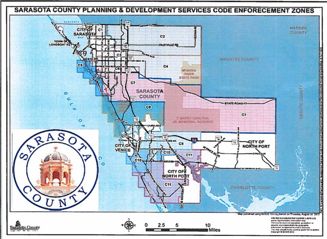 A map shows the Code Enforement zones in the county. Image courtesy Sarasota County