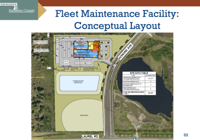 A graphic shows a conceptual plan for the Sheriff's Office fleet maintenance facility on Laurel Road. Image courtesy Sarasota County