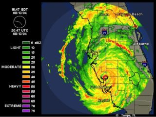 A radar image shows Hurricane Charley in 2004. Image from Weather Underground