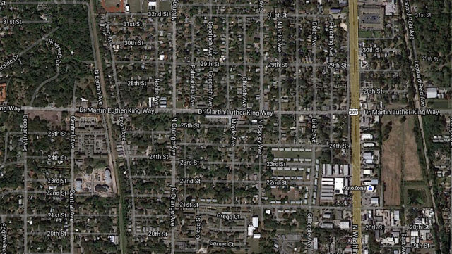An aerial map shows Dr. Martin Luther King Jr. Way between U.S. 301 and Central Avenue. Image from Google Maps