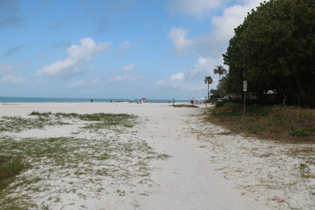 The view of the abandoned segment of North Beach Road segment looking north shows mostly sand. File photo