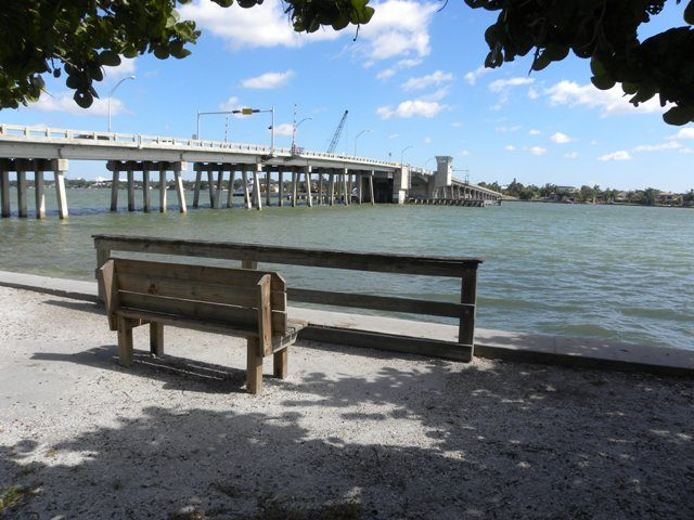 The view looks east from Nora Patterson Bay Island Park toward the Siesta Drive bridge. Image courtesy Sarasota County