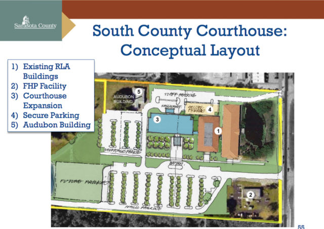 A graphic shows a conceptual plan for the South County Courthouse and Andeerson Center renovations in Venice. Image courtesy Sarasota County