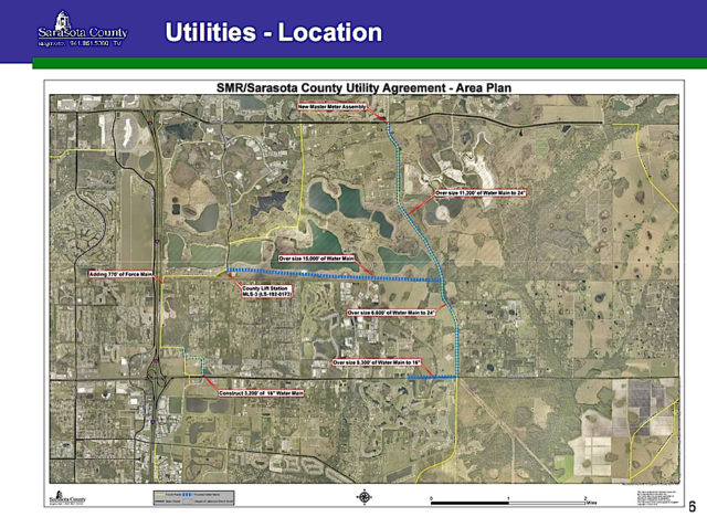 A graphic shows the location of the utilities work. Image courtesy Sarasota County