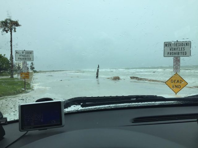 A Sarasota County Sheriff's deputy photographed flooding on North Beach Road. Image courtesy Sheriff's Office
