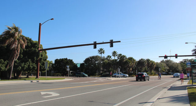 Pedestrians cross Beach Road at the Stickney Point Road intersection in this 2014 file photo.