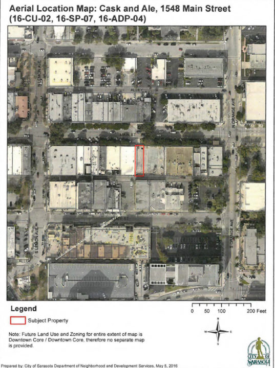 A graphic shows the location of the Cask and Ale building in downtown Sarasota. Image courtesy City of Sarasota