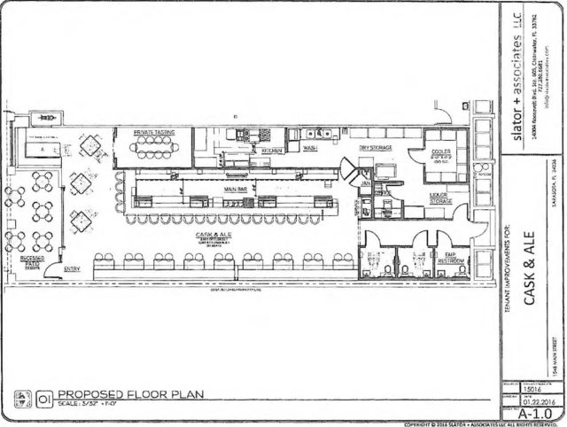 An engineering drawing shows the interior planned for Cask and Ale. Image courtesy City of Sarasota