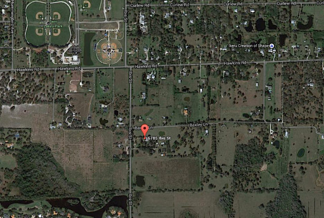 An aerial map shows the general location of the Ibis Street and Baxley Lane properties. Image from Google Maps