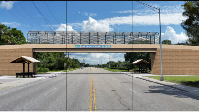 A rendering of the current design for the Laurel Road overpass is on The Friends of the Legacy Trail website. Image from the website