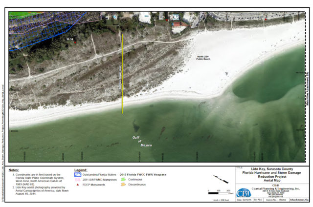 An aerial map shows the project area on South Lido Key, including the proposed locations of two groins. Image courtesy FDEP