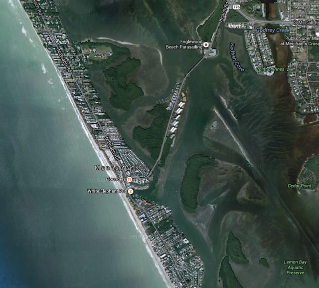 An aerial view shows Manasota Key. Image from Google maps