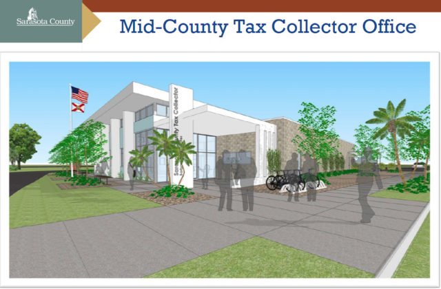 County staff provided this rendering of the new Mid-County Tax Collector's Office, which is expected to open next year. Image courtesy Sarasota County