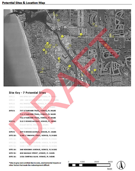A graphic offers details about the seven sites Sweet Sparkman evaluated. Image courtesy Sarasota County