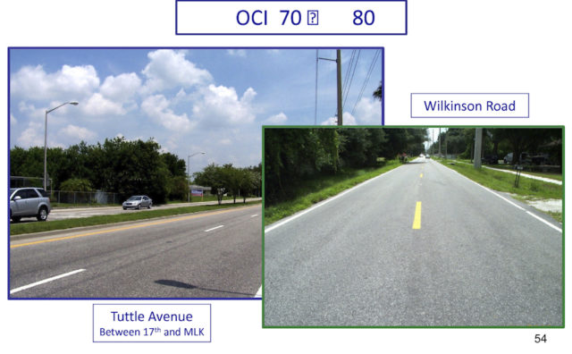A graphic shown to the County Commission in 2013 provides images of road surfaces considered in very good condition. Image courtesy Sarasota County