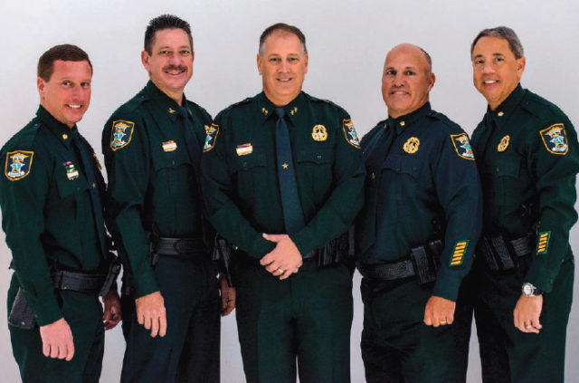 The Sheriff's Office Command staff is (from left) Major Jon Goetluck, Col. Kurt Hoffman, Sheriff Tom Knight, Major Jeff Bell and Major Paul Richard. Image courtesy Sheriff's Office