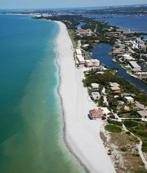 An aerial view of south Siesta shows the results of the latest county beach renourishment project, which was completed in April. Image courtesy Sarasota County
