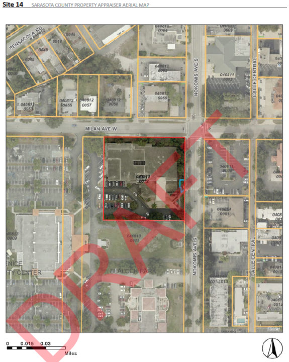 A graphic in the Sweet Sparkman evaluation shows the current library location. Image courtesy Sarasota County