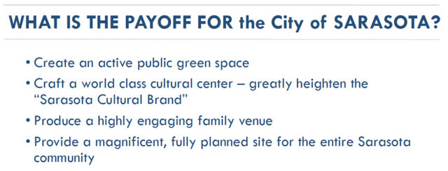 The July 18 Bayfront 20:20 presentation to the City Commission listed these potential results from the creation of the new bayfront plan. Image courtesy City of Sarasota