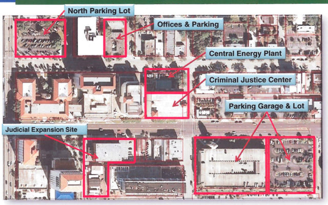 A graphic presented to the County Commission in March 2013 shows the location of the Central Energy Plant in downtown Sarasota. Image courtesy Sarasota County
