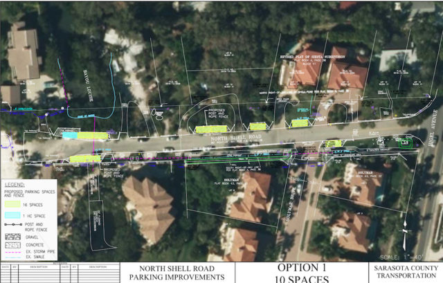 A graphic shows one of the public parking concepts the County Commission considered before approving a plan in 2014 for beach access from that road. File photo