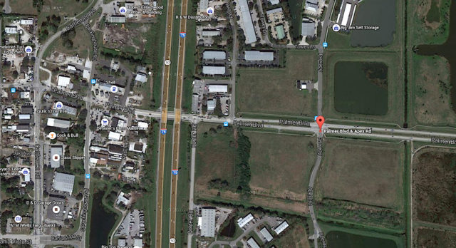 An aerial map shows the intersection of Apex Road and Palmer Boulevard in Sarasota County. Image from Google Maps