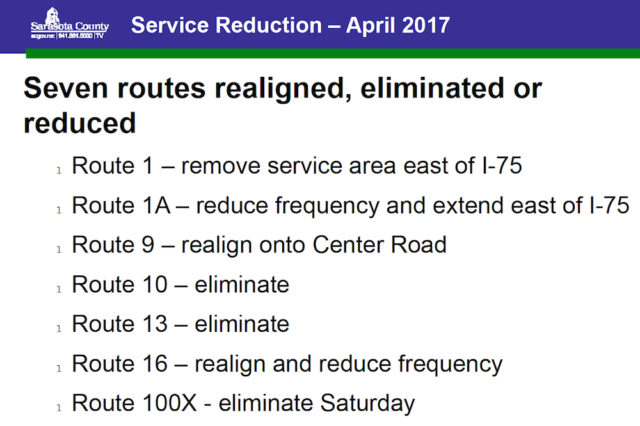 A chart shows routes proposed for changes in April 2017. Image courtesy Sarasota County