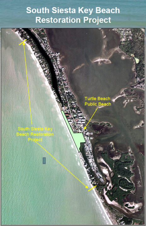 A graphic shows the South Siesta Renourishment Project area. Image courtesy Sarasota County