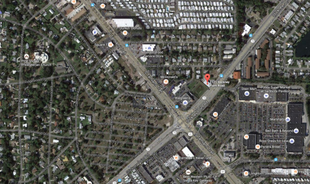 An aerial view shows the proximity of the property to the intersection of Stickney Point Road and U.S. 41. Image from Google Maps