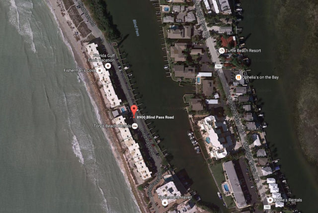 A map shows the location of Fisherman's Cove on south Siesta Key. Image from Google Maps