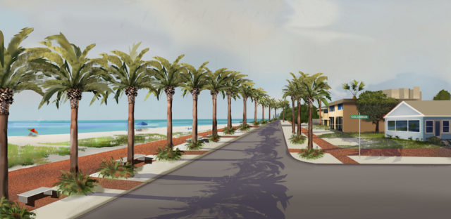 A rendering Siesta resident Mike Cosentino commissioned showed how North Beach Road could look if the county had opted to build a seawall to protect it. Image from reopenbeachroad.com