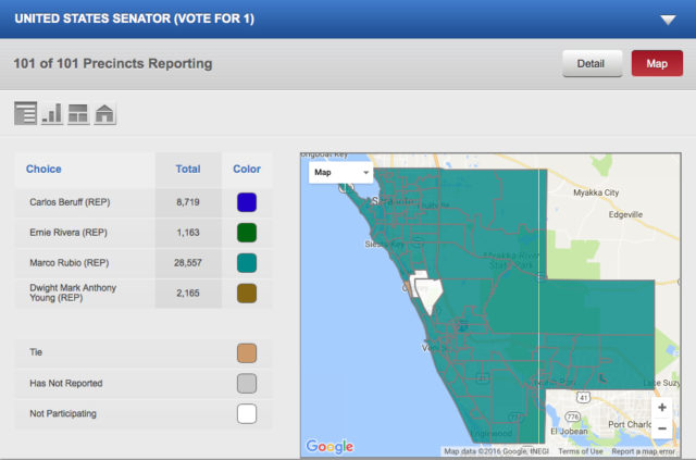 A map shows that challenger Carlos Beruff was beaten in every Sarasota County precinct by U.S. Sen. Marco Rubio. Image courtesy Supervisor of Elections
