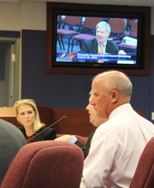 School Board member Bridget Ziegler listens as Deputy Superintendent Scott Lempe explains facets of the search process, Rachel Hackney photo