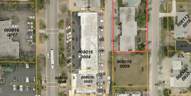 An aerial map from the Sarasota County Property Appraiser's Office shows the parcel where the golf course is proposed to be located on Calle Minorga. Image courtesy Sarasota County