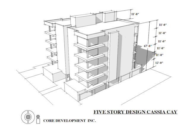 This rendering of a five-story residential building was included in the application. Image courtesy Sarasota County