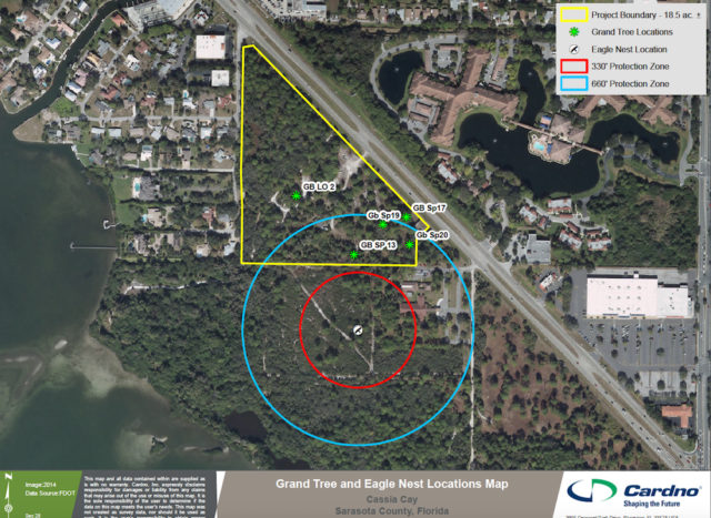 A graphic shows the location of the eagles' nest relative to the development area. Image courtesy Sarasota County