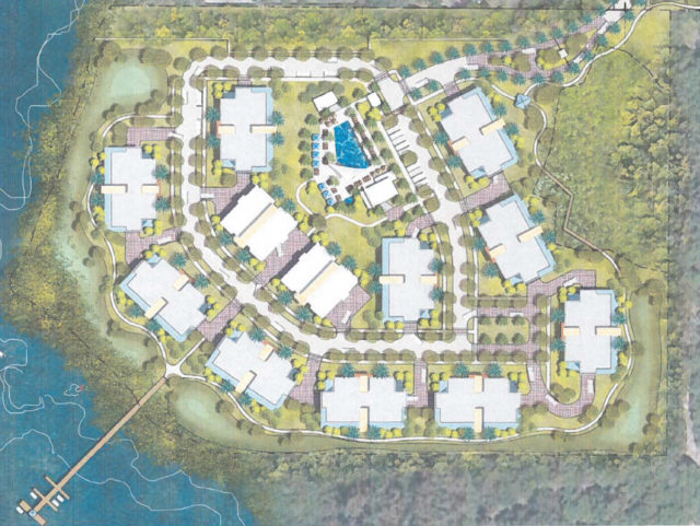 A graphic shows more detail about the proposal for the residential area on the bay. Image courtesy Sarasota County
