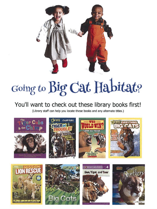 A poster encouraged youngsters to read specific books before visiting Big Cat Habitat. Image courtesy Sarasota County