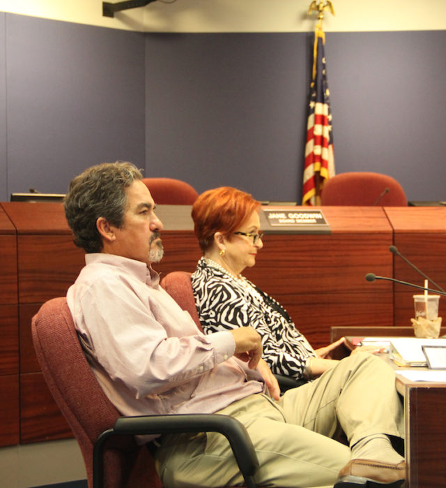 School Board members Frank Kovacn and Jane Goodwin listen to the discussion. Rachel Hackney photo