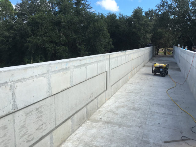 Work is proceeding on the Myakkahatchee Creek bridge. Photo courtesy Sarasota County