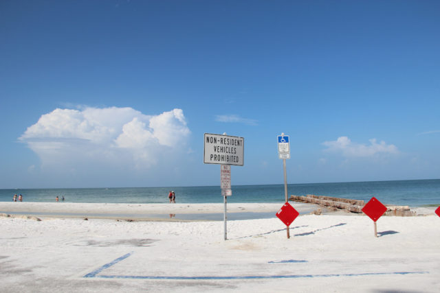 Signs at Beach Access 2 prohibit parking, although one handicapped parking space is available. File photo