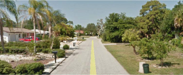 A photo in the application shows one of the neighboring residential streets. Image courtesy Sarasota County