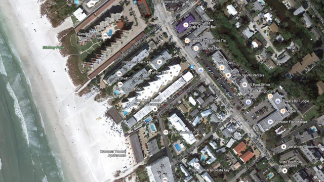 An aerial view shows the location of Seaside Drive and Sun N Sea Drive on south Siesta Key. Image from Google Maps