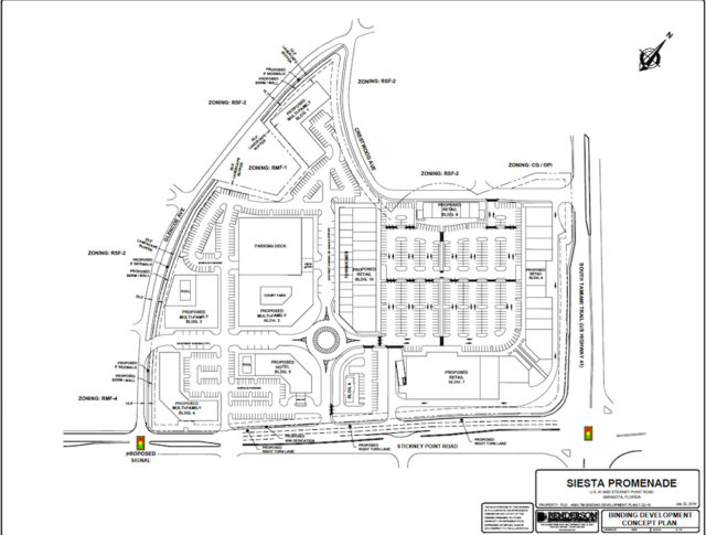 An engineering drawing shows the proposed location of driveways and traffic signals for Siesta Promenade. Image courtesy Sarasota County