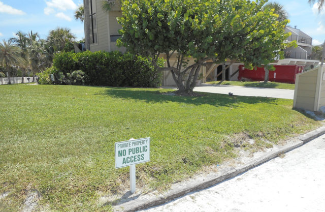 This sign was found on private property on Avenida Messina near Beach Access 2. Image courtesy Sarasota County