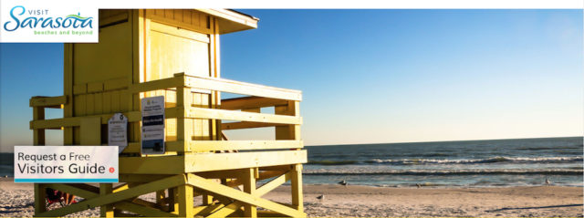 The website banner for Visit Sarasota County featured a Siesta Key lifeguard stand on Aug. 17. Image from the website
