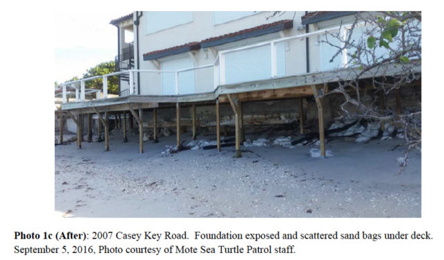 Damage is visible at this Casey Key Road structure on Sept. 5. Photo courtesy Sarasota County