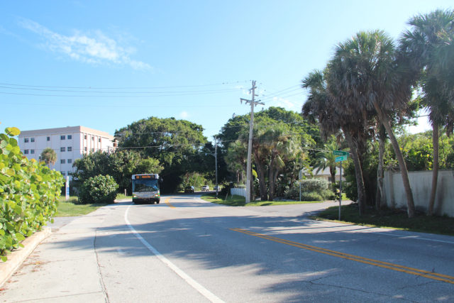 Drivers headed south to Siesta Village on Ocean Boulevard round a curve near the Givens Street intersection. Rachel Hackney photo